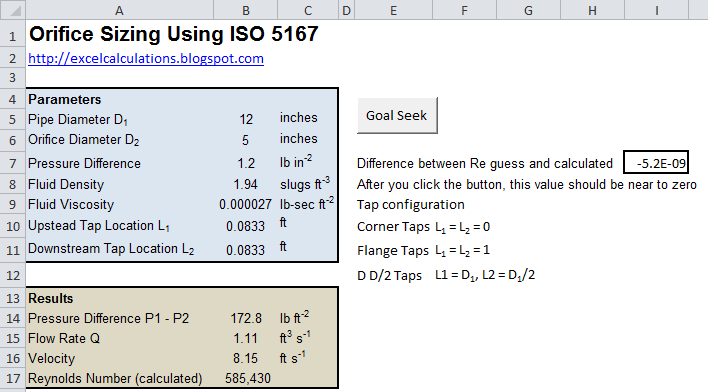 Size a liquid orifice meter with iso and excel