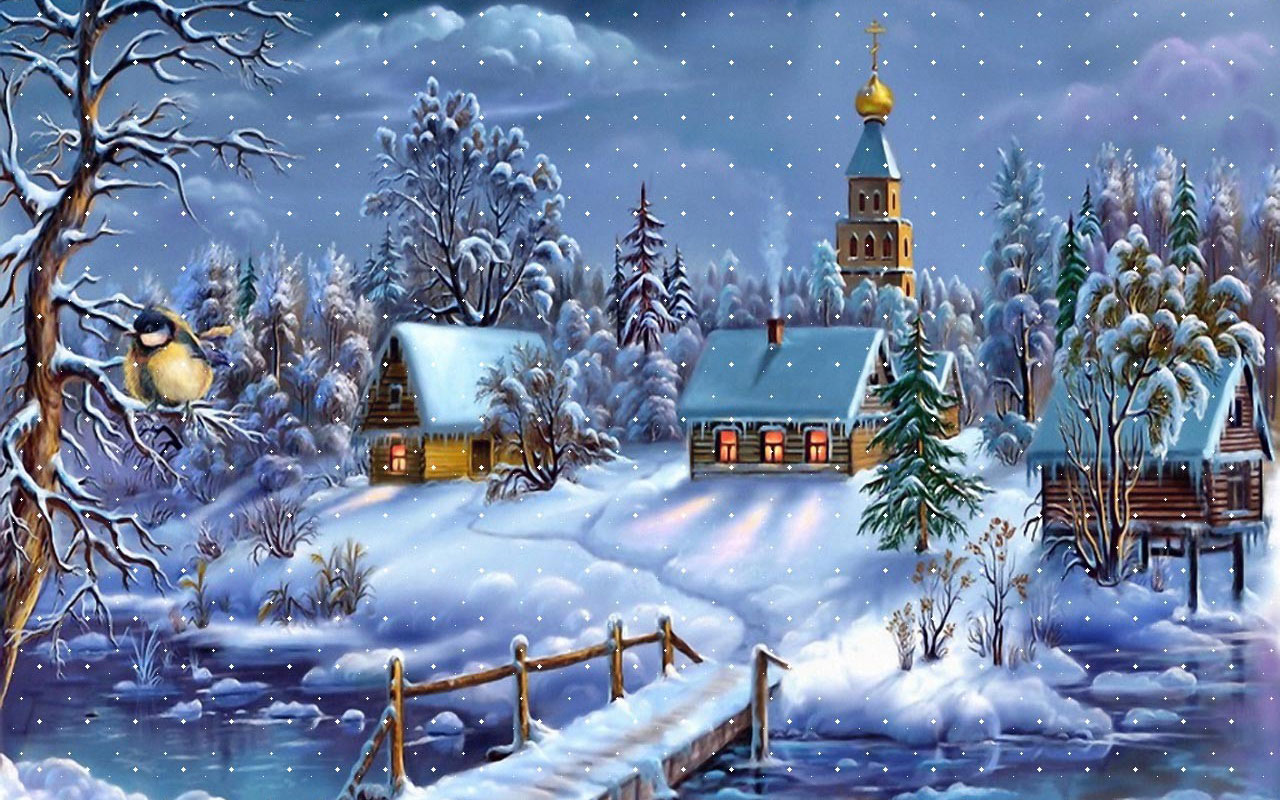 snowy church and xmas - photo #35