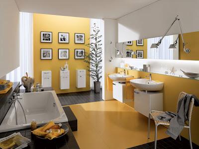 baño paredes amarillas