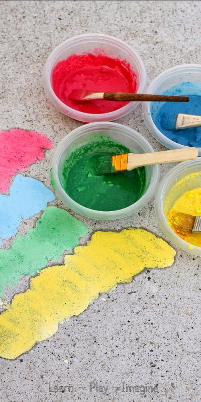 NEW two ingredient recipe for sidewalk chalk paint.  This cornstarch free recipe dries in vivid shades and only calls for two ingredients.  (One of them in water.)