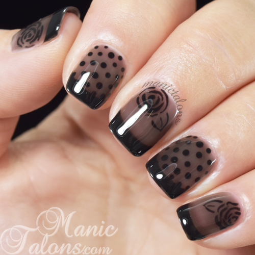 Sheer Black Nail Art with BMC Smoke + Mirrors
