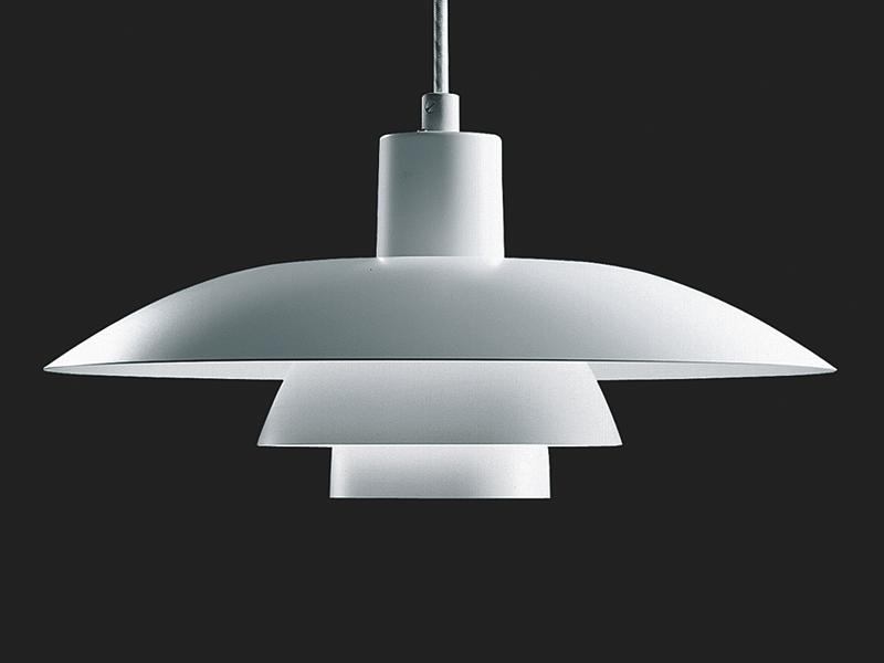 Lois poulsen white designer ph 4 3 pendant mid century for Mid century modern hanging lamp