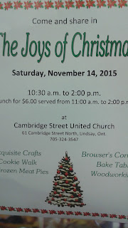 image Kawartha Lakes Christmas Craft Show -Cambridge Street United Church Lindsay November 14th 2015 poster