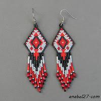 Схема сережек - мозаичное плетение free peyote earring pattern