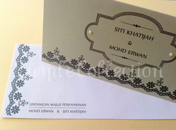Black Floral Lace Wedding Invitation Card, wedding invitation cards, malay wedding cards, black floral lace card