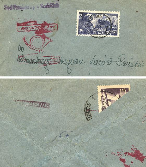 Rzadka całość pocztowa z dnia 20.10. 1958 r. Stempel z trąbką pocztową w kolorze bordowym. Ciekawostką tej koperty jest to, że została wtórnie użyta (pierwotnie wysłano ją do Końskich z więzienia w Kielcach. Walor filatelistyczny z kolekcji KW.