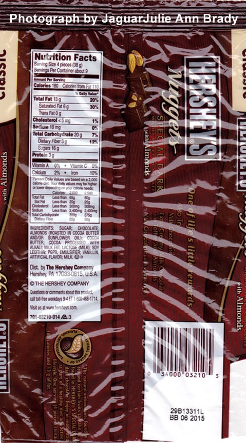 nutrition infor for hersheys nuggets special dark chocolate with almonds