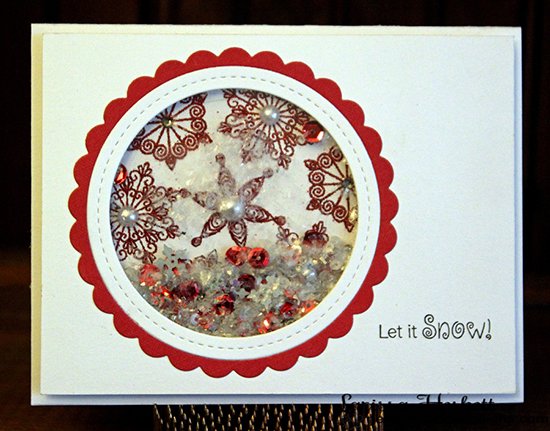 Red & White Snowflake Shaker Christmas Card by Larissa Heskett for Newton's Nook Designs | Beautiful Blizzard Stamp Set