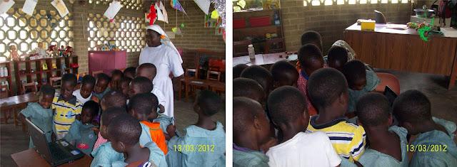 I bambini a scuola della missione delle suore di Notre Dame de l'Eglise in Africa