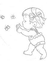 """""""risco para pintar menina e borboletas"""""""