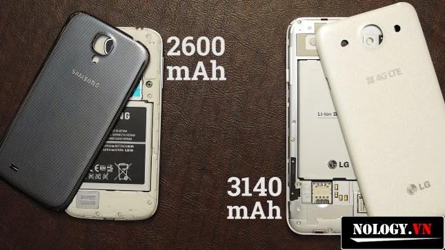 Pin của Optimus G Pro F240K lớn hơn nhiều so với Galaxy S4