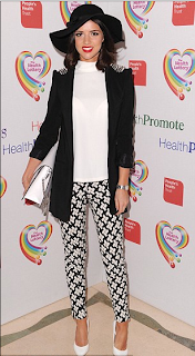 Lucy Mecklenburgh, TOWIE, Monochrome, Printed Trousers, Studded Blazer, Miss Selfridge, Topshop, Zara, Geometric Print