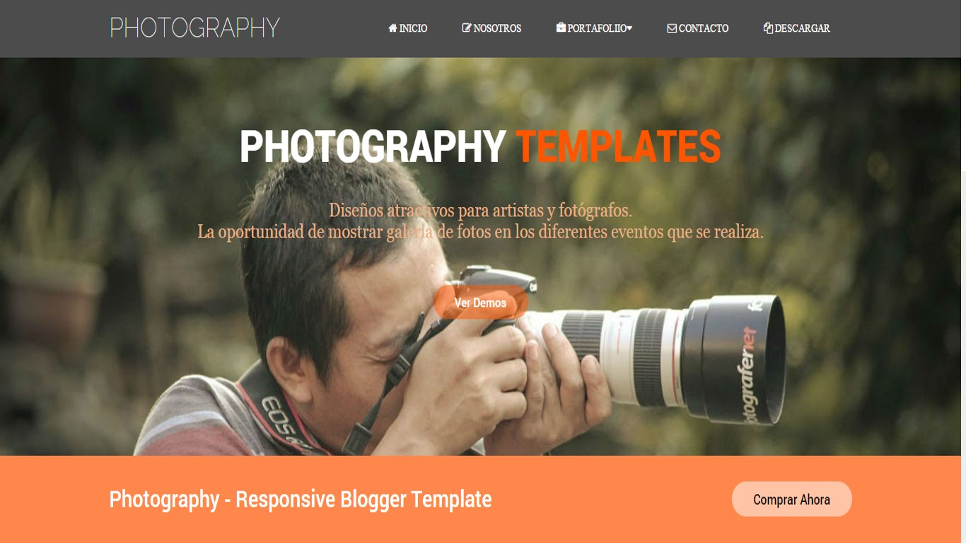 Photographer Template Theme Blogger Profesional Responsive