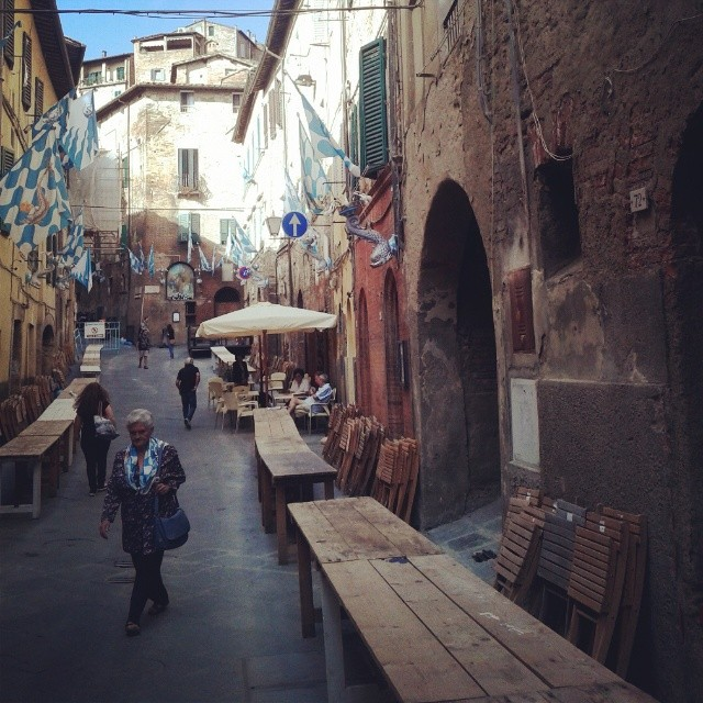 Siena's onda (wave) contrada getting ready for the July Palio