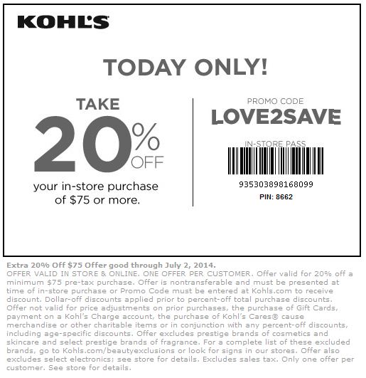 Kohls Coupons Printable 2015