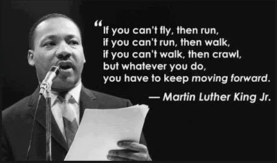 If you can't fly, then run, if you can't run, then walk, if you can't walk, then crawl, but whatever you do, you have to keep moving forward.  - Martin Luther King