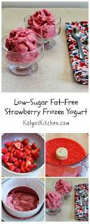 Recipe for Low-Sugar Fat-Free Strawberry Frozen Yogurt [from KalynsKitchen.com]
