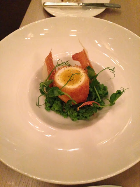 berners tavern egg ham and peas
