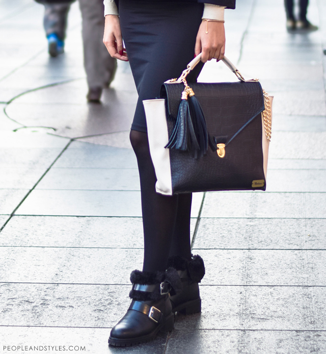 Elegant, stylish daily street style outfit idea, weekend look: pencil skirt, croped jacket and ankle boots, torba Nohaa, Mia Buljan