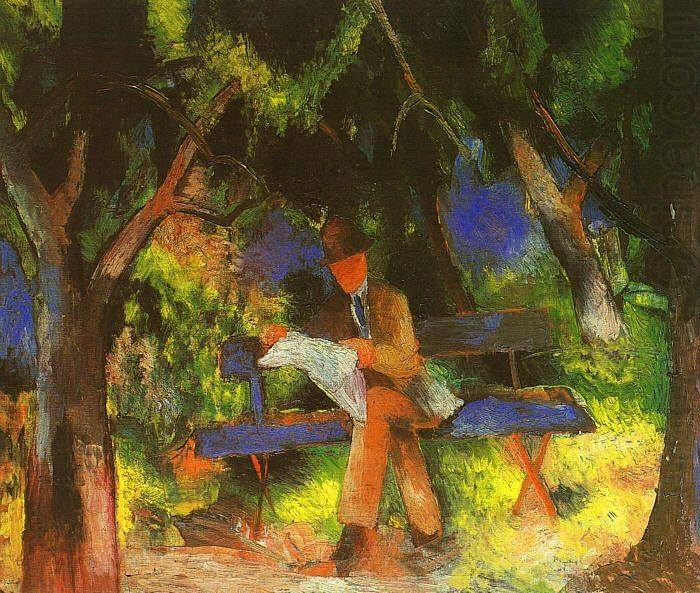 August Macke, Man Reading in a Park, 1914