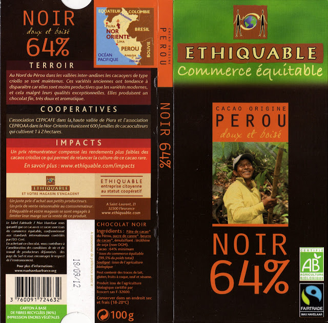 tablette de chocolat noir dégustation ethiquable pérou noir 64
