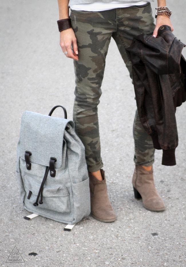 Backpacks are momma's best friends- camo pants and ankle boots too!