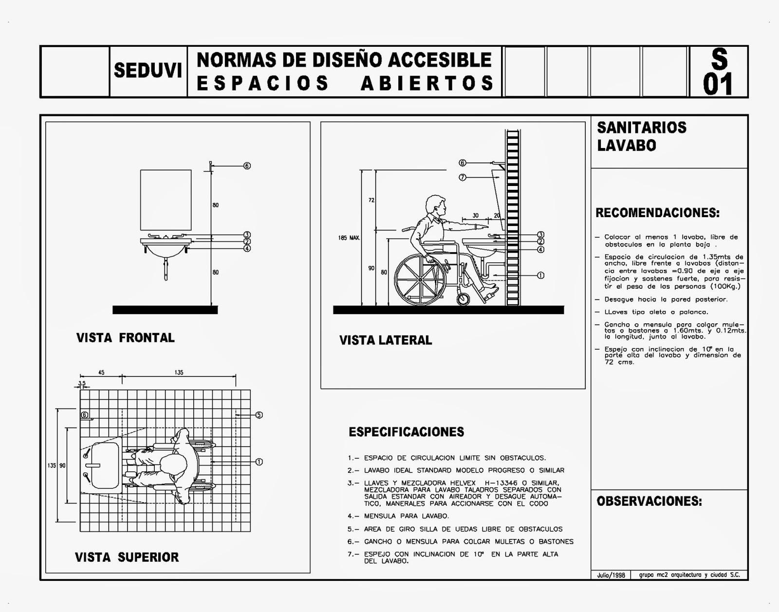 Diseno De Un Baño Para Discapacitados:Todo para el Arqui: Normas diseño discapacitados (5) SEDUVI – Autocad