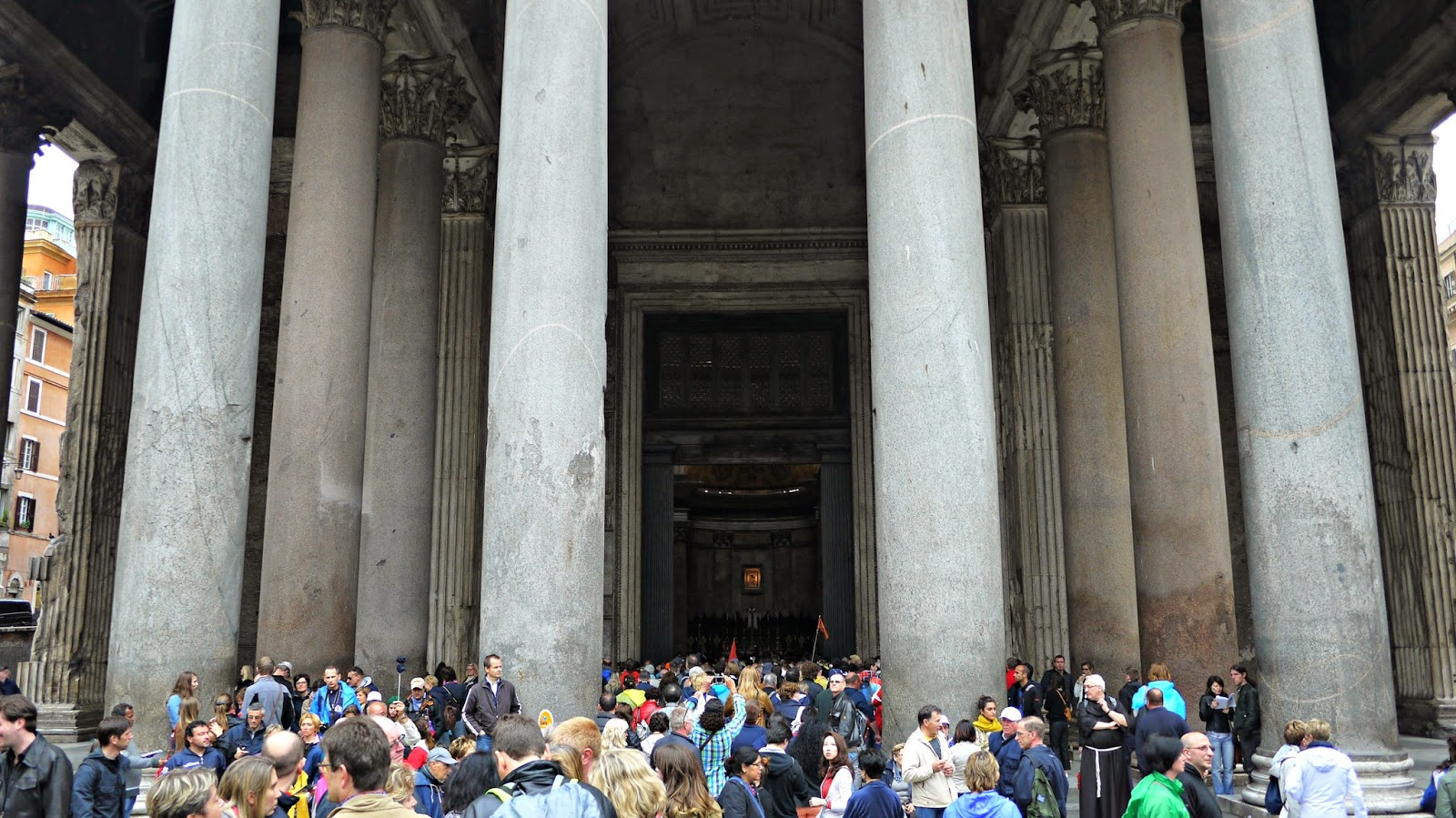 Crowds at The Pantheon in Rome Italy