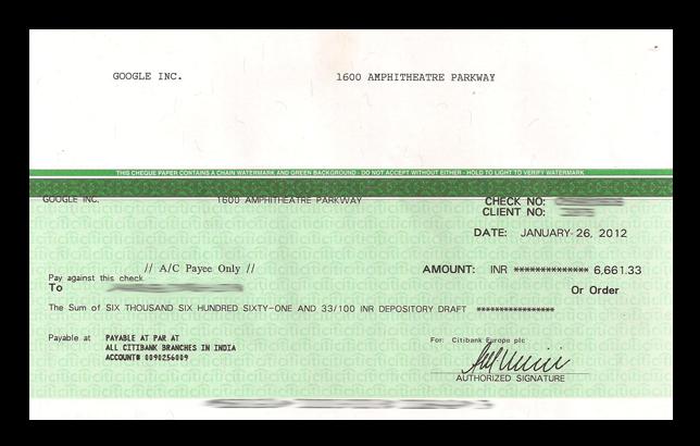 google adsense cheque