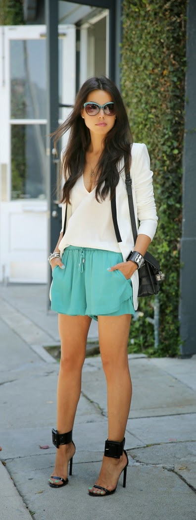 Stylemint Short with White V-Neck Blouse and Black Buckle Heels | Chic Summer Outfits