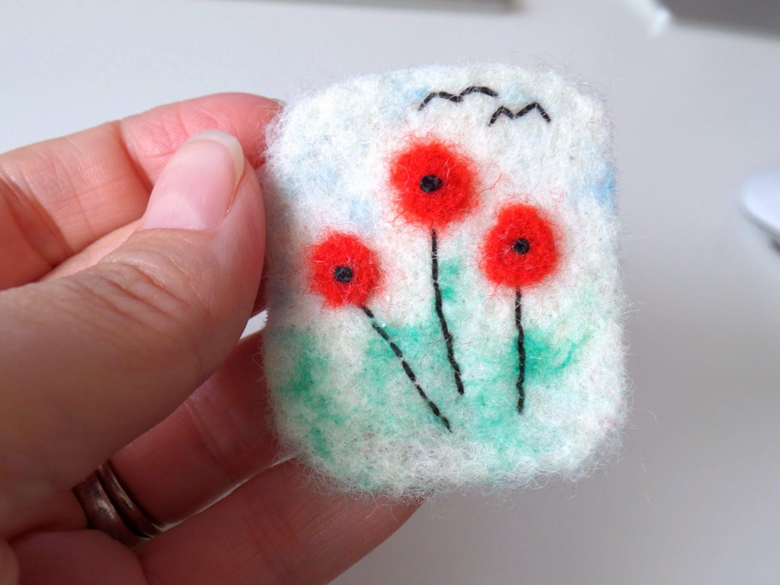 needle felt poppy brooch