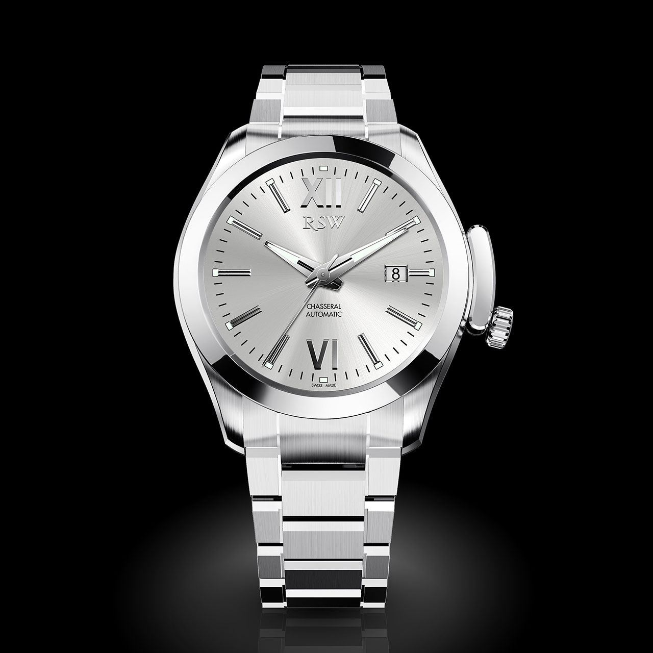 RSW Chasseral Mechanical Watch silver dial
