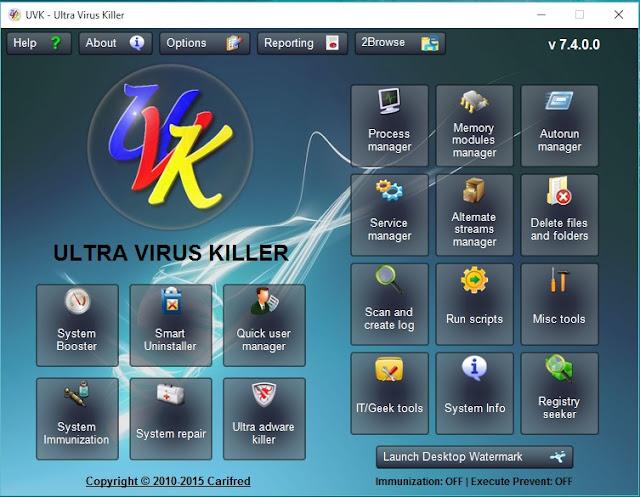 برنامج مجاني لإكتشاف وإزالة البرامج الضارة وإصلاح جهاز الكمبيوتر Ultra Virus Killer 7.4.0