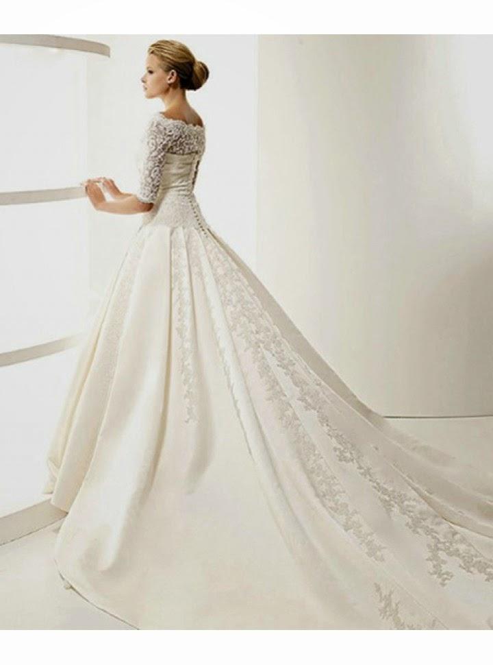 queusar: vestido de novia corte catedral mangas tres cuartos