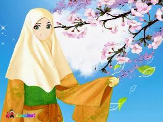 Akhwat dan bunga sakura (gambar desainkawanimut.com)