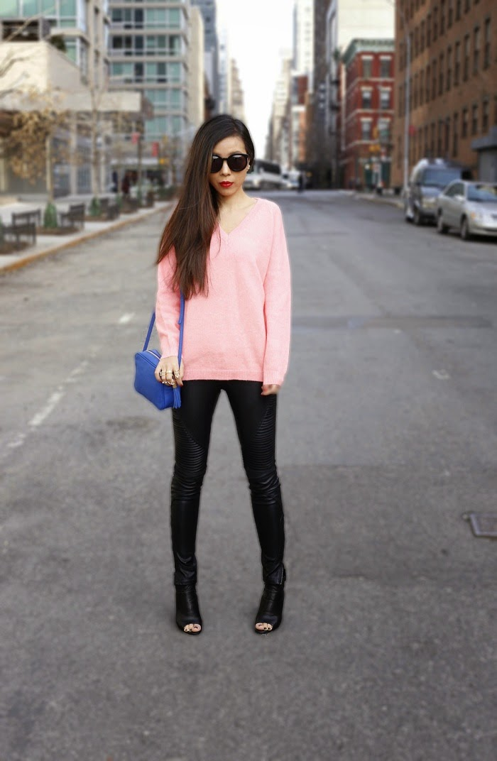 Karen walker super duper sunglasses, ysl lipstick, asos pink sweater, blank denim moto pants, gigi new york madision crossbody bag, dolce vita leka boots, baublebar 360 pearl studs, baublebar statement rings, street style, fashion blog, spring outfit ideas