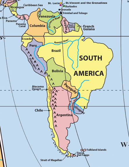 south america map labeled MEMES