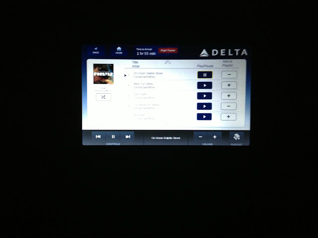 "Listening to a Jazz Tune in Business Class on Delta Airlines, ""On Green Dolphin Street"" by Return To Forever"