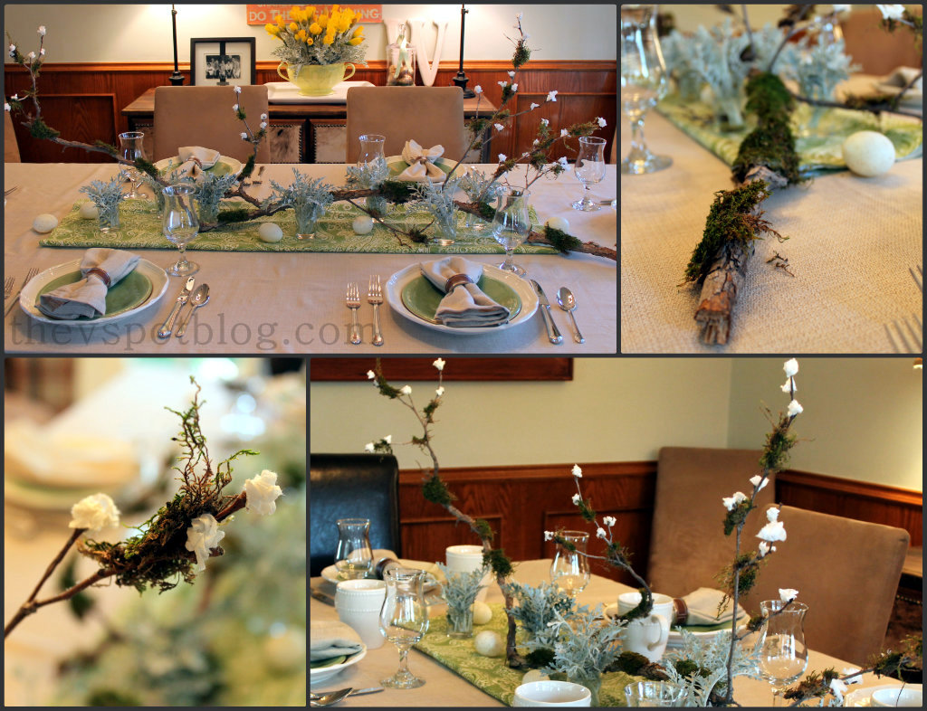 An Easy Spring Centerpiece Mossy Branch With Paper Buds