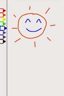 Image from the game: a smiling sun on the right, and a set of color markers on the left.