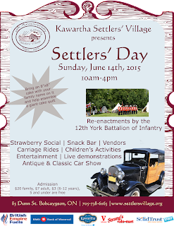 imageKawartha Settlers Day - June 14th 2015 Poster listing special attractions at the event