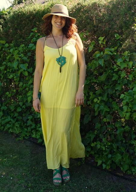 vestido amarillo verde