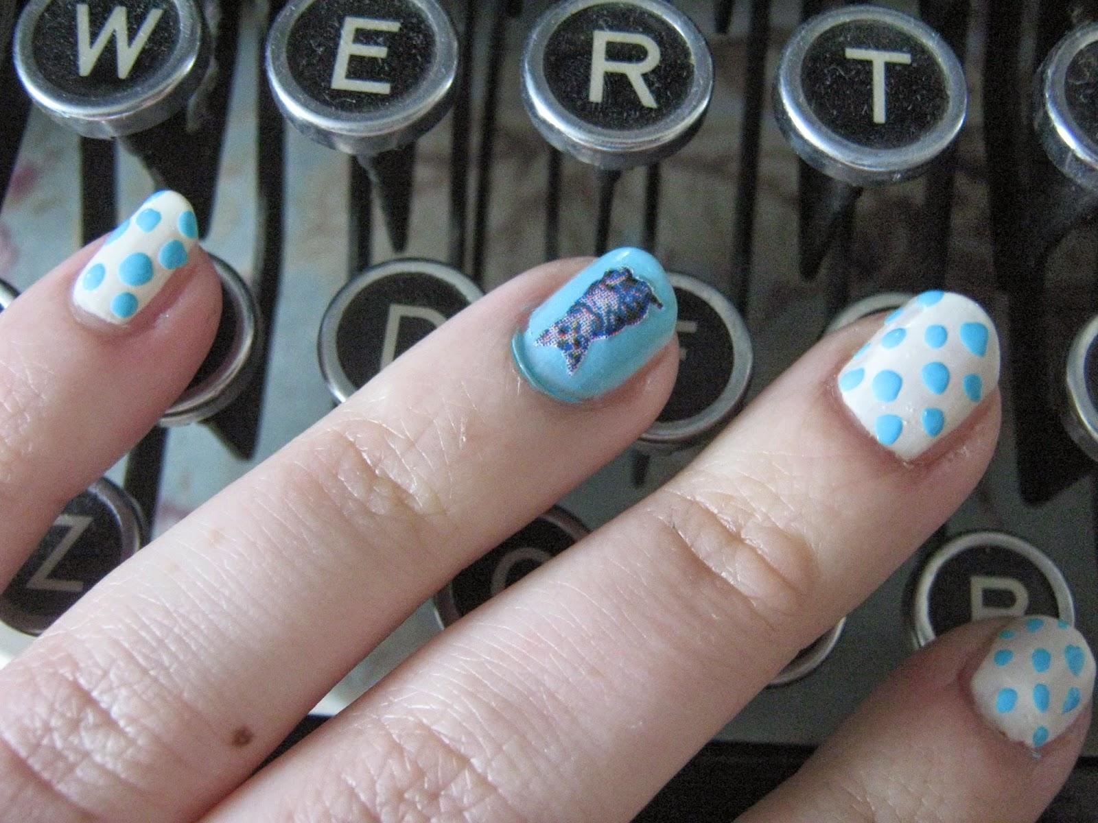 Polka dots and Kittens Nail Art