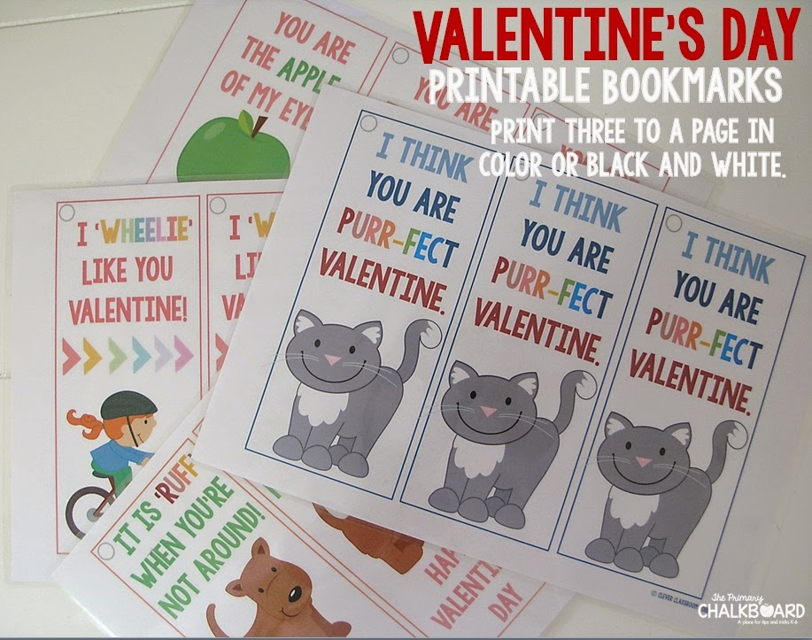 Free Valentine's Day bookmarks I Primary Chalkboard