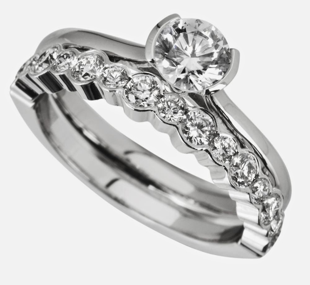 Wavy Shaped White Gold Bridal Set Rings with Diamond Design pictures hd