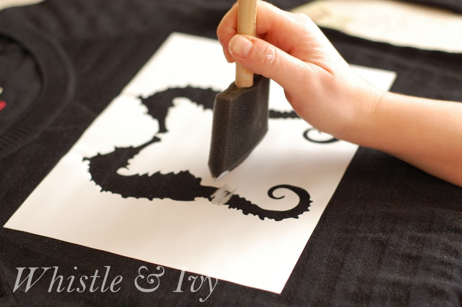 DIY Printed Sweater Vinyl Stencil Paint Seahorse Easy