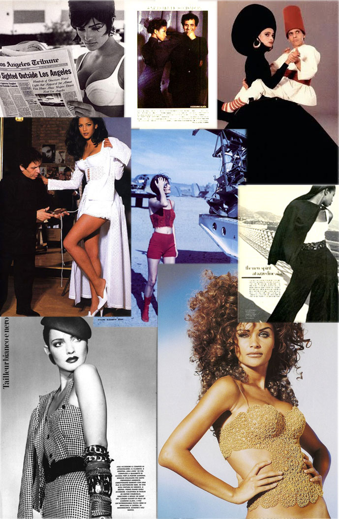 Azzedine Alaia designs in Vogue Italia 1983, Vogue Italia 1990 (on Helena Christensen), Vogue US 1988 & Vogue US 1992, Alaia by Jean-Paul Goude
