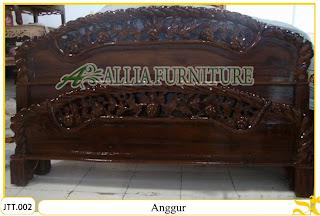 Tempat tidur kayu jati ukir jepara Anggur murah.Jakarta