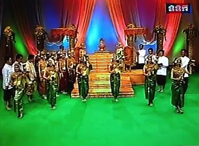 Khmer New Year play on Cambodian television, dancers and new dragon