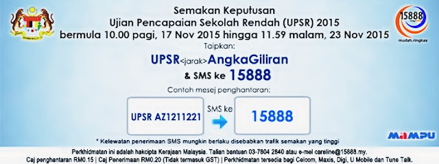 Result sms / Keputusan UPSR 2015